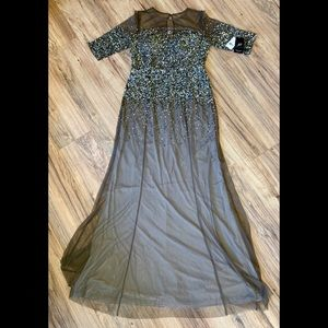 Adrianna Papell 3/4 Sleeve Beaded Illusion Gown
